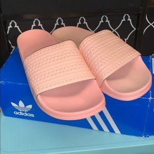 Adidas salmon pink slides